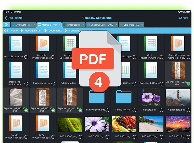 Create Multi page PDFs by selecting multiple images on your iPad or iPhone