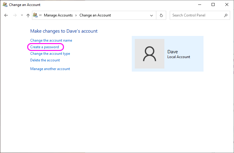 How to set a password on a Windows 10 user account