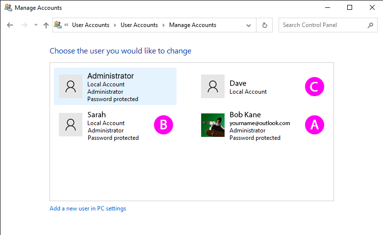 Why do my Windows 10 user accounts look different